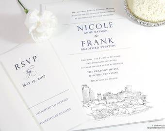 Memphis Skyline Wedding Invitations Package, Invite, Memphis Wedding (Sold in Sets of 10 Invitations, RSVP Cards + Envelopes)