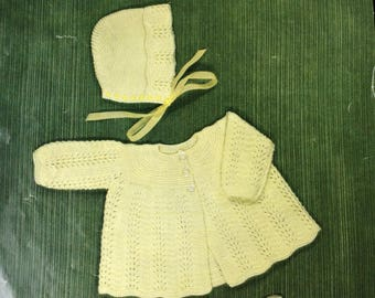 "Vintage knitting pattern 1960's Robin 1708 Baby coat/bonnet/bootees 18"" 20"" chest 3 ply"