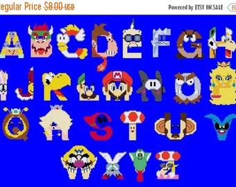 mario alphabet Cross Stitch Pattern Pdf nintendo abc pattern abc cross stitch -274 x 185 stitches- Instant Download - B1107