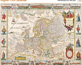 old map europe old map Cross Stitch old map europe pattern old map needlepoint -496 x 390 stitches- Instant Download - B666