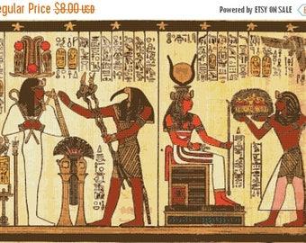egyptian Cross Stitch Pattern hathor pattern hieroglyphs papyrus osiris - 386 x 262 stitches - INSTANT Download - B1540