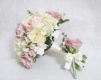 Set Of 2 Pieces Blush Roses Wedding Bouquet Color Floral Boutonniere
