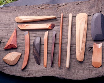 Handmade Wooden Pottery Tools SET of 13