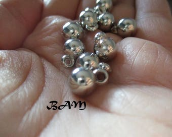 Set of 10 charms 7mm silver balls