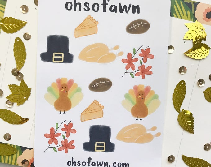 Hand Drawn Water Color Thanksgiving Stickers