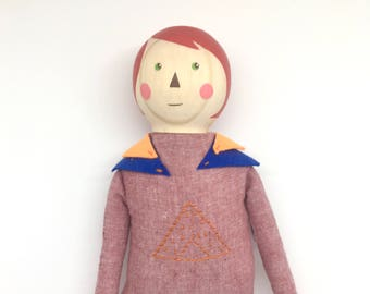 Wood and fabric doll - mountain girl