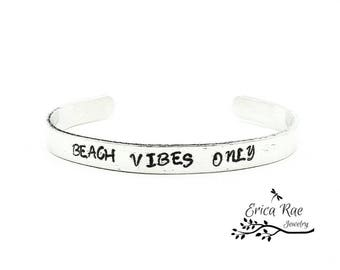 Beach vibes only metal stamped bracelet cuff, quote bracelet,  boho bracelet, boho jewelry,  stamped jewelry, beach jewelry