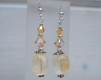 Beaded Citrine earrings Sterling Silver or Gold Fill November Birthstone gift
