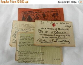 Summer Sale Vintage 1945 Saint Petersburg Florida Red Cross 1944 Membership Card