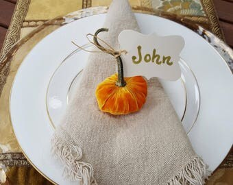 Silk Velvet Pumpkins with Real Pumpkin Stems, Set of 4 mini pumpkins (place card holders or party favors)