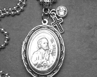 St. Peter Catholic Holy Medal Antique Silver Locket Necklace, Catholic Gift, Inspirational Jewelry