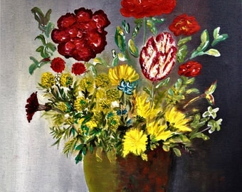"""Original oil painting, still life, by Nalan Laluk: """"Riot of Flowers"""""""