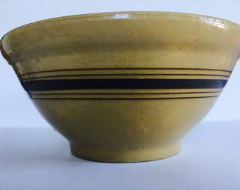 """Antique Yellow Ware Bowl, LARGE 12.5"""" with Brown and White Stripes"""
