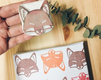 Fox hand carved rubber stamp,fox print,fox stamp,forest stamp,diy gift wrapping.