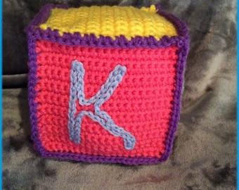 Letter K Soft Block, Hand Crocheted