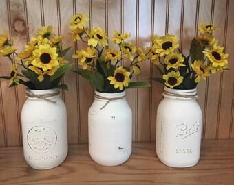 Sunflower mason jar centerpiece, fall mason jar centerpiece