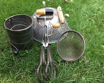 4 Piece Set of Vintage Kitchen Utensils Farmhouse Decor Retro Antique Flour Sifter Tin Colander