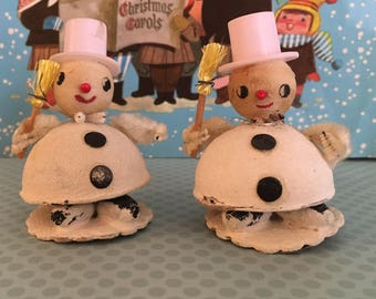 Vintage Snowman Ornaments, Spun Cotton Heads, Pink Hats, Mica, Chenille Arms, Christmas Winter Decor Cottage Chic, Mid Century Made in Japan
