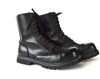 Black Leather Military Army Boots Combat Boots Vintage Leather Boots Heavy Undercover Boots Size 12