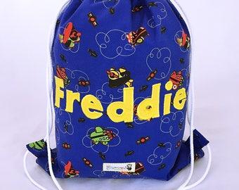 Children's Personalised Bag, Drawstring PE bag, Backpack, Swim bag, School bag, Nursery bag, Planes Bag, Boys Bag, Toddler Bag, Waterproof