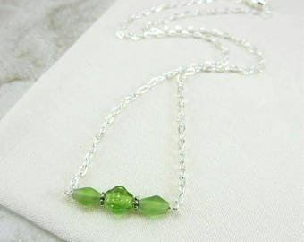 Delicate Bead Necklace, Lime Green Necklace, Delicate Green Necklace, Dainty Green Necklace, Minimalist Green Necklace, Gift for Daughter