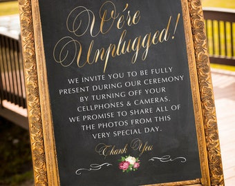 Printable Unplugged Wedding Sign, Unplugged Wedding Ceremony Sign, Unplugged Ceremony Sign, Instant Download, Multiple Sizes Included