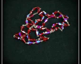 Vintage red Aurora Borealis beaded necklace