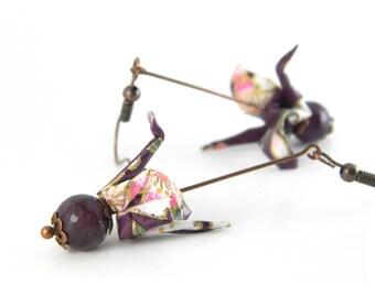 Origami earring Tsuru