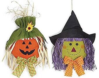 SALE!!! Hanging Burlap Jack-o-lantern & Witch Head-Set of 2/Wreath Supplies/Fall-Halloween Decor/9725860