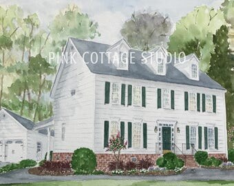 Custom home drawing, Custom home sketch, Portrait of houses, Realtor gift, Custom home painting, Custom house illustration