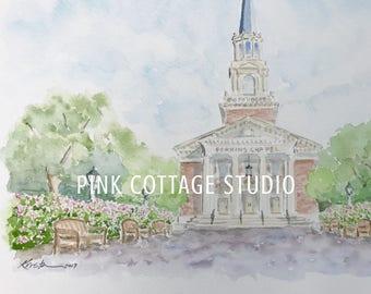 Wedding venue watercolor, Wedding day watercolor, Vow art, Painting of wedding venue, Wedding gift, Wedding present, Vow renewal gift