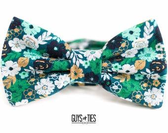 green floral bow tie, mens bow ties, bowtie, easter bow tie, gold teal bow ties, mens floral bow ties, boys green bowtie, emerald bowties