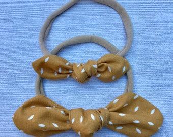 Rustic Yellow Baby Headband, Mustard Yellow Bow Headband, Nylon Headband, Mini Knot Bow, Baby Accessories, Baby Bow Headband, Knot Bow