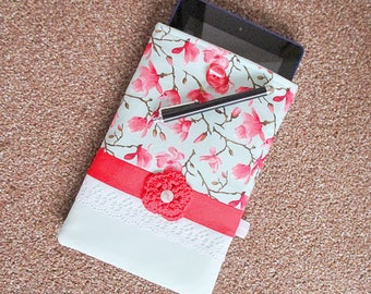 Handmade kindle case, kindle paperwhite case, kindle sleeve, kindle fire case, cherry blossom, mint green, red