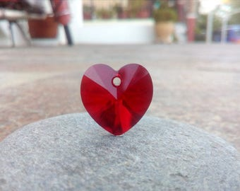Red Swarovski Heart, Swarovski Crystal Heart Supplies, Red Glass Heart 6228 Siam, 18 x 17.5 mm