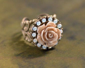 Ivory Carved Rose Ring, Rose Jewelry, White Rose Jewelry, Vintage Ivory Ring, Antique Rose Jewelry, Ivory Jewelry, Shabby Chic Ring R542