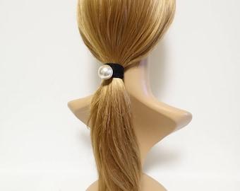 A Set of 2 Sleek Pearl Ball Dangling Elastic Bands Ponytail Holders Elegant Women Hair Accessories