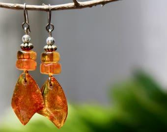 Vintage Baltic amber earrings, Baltic amber jewelry, Amber earrings, Gift for her, Honey amber earrings, Silver earrings, Genuine amber