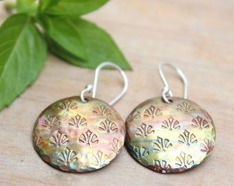 Handmade dangle earrings, Mixed metal earrings, Patina copper earrings, Hammered copper earrings, Copper jewelry Silver ear wires hooks Gift