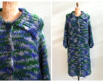 Vintage 1960's Blue and Green Knit Sweater Coat | Size Large