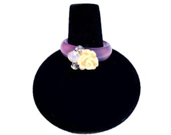 Purple Glass Ring with Vintage Flower Embellishment