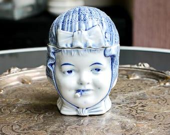 Antique Porcelain Tobacco Jar Belgian Vintage Porcelain Blue and White China Vintage Humidor Figural Tobacco Jar Pot Gift for Him