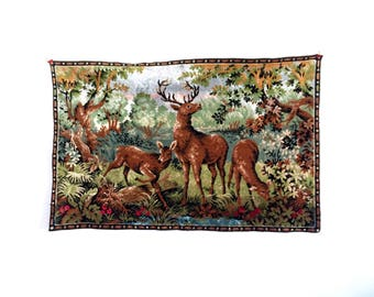Vintage/tapestry/deer/country/kitsch/nature/cabin/velvet/mid century