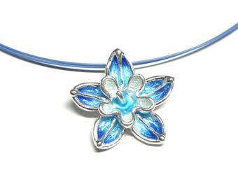 Blue Flower Silver Pendant Necklace - Floral Women's Necklace - Handmade in Greece
