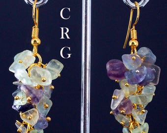 Gold Plated Fluorite Grape Cluster Earrings (GC42DG)