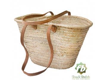 Natural Basket long Flat Leather Handle, French Basket, Moroccan Basket, straw bag, french market basket, Beach Bag, straw bag
