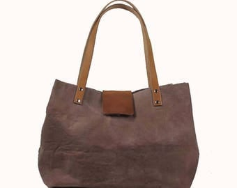 Lined, Waxed Cotton Canvas Tote Bag - Taupe - Leather Handle