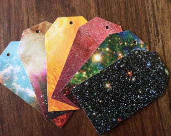 12 x Space themed birthday party gift tags. Wedding gift tags. Sun, stars, galaxy, nebula, universe. Bookmarks.