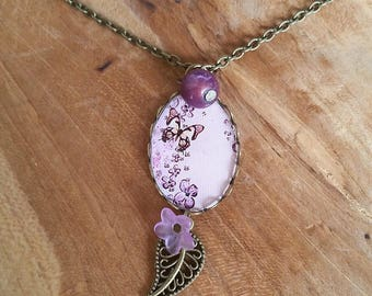 Necklace: pretty butterflies and purple
