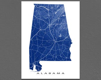 Alabama Map Print, Alabama State Art, USA Artwork